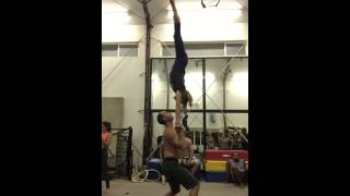 Sports Acro press to high hand to hand