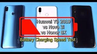 Huawei Y9 2019 vs Nova 3i vs Honor 8X Battery Charging Test