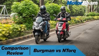 Suzuki Burgman vs TVS NTorq - 15 Questions Answered? | MotorBeam