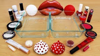 Red vs White - Mixing Makeup Eyeshadow Into Slime! Special Series 100 Satisfying Slime Video