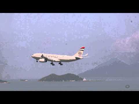 Etihad Airbus 330 landing at Hong Kong Chek Lap Kok Airport