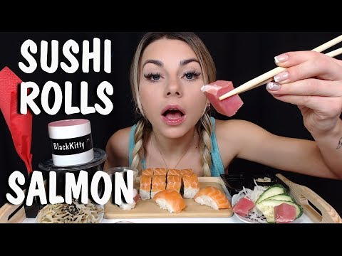 АСМР Суши Роллы 🍣🥢 Звуки еды 👄🍱 ASMR Mukbang SUSHI ROLLS SALMON Let's Eat 땅 寿司