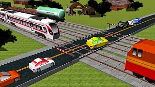 Local Trains videos for kids - Cars and Railroad Crossing - Game #2