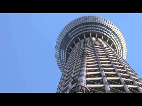 Airplane is flying over the Tokyo Skytree (Japanese Tourism)