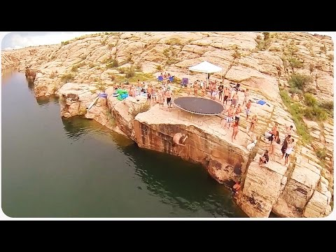 US, Arizona Cliff Jumping (Made by a Drone)