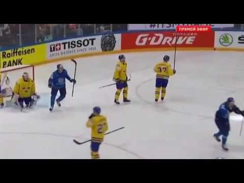 Гол Савченко в падении от синей линии!Швеция - Казахстан, чм 2016.