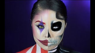 HOW TO : TWO FACED KILLER CLOWN SCARY SKULL HALLOWEEN MAKEUP!! | KIMVENTURA96