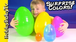 Surprise Eggs LEARN COLORS! Nesting Eggs Toy Story Disney Fun by HobbyBabyTV