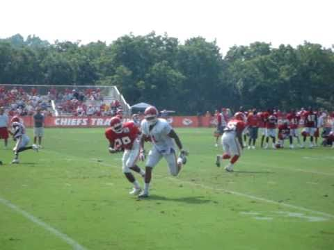 encouraging play at Chiefs training camp in St. Joe, Missouri against Tony Moeaki.