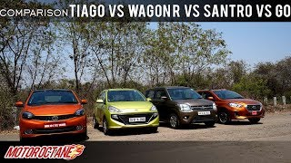 Tata Tiago vs Maruti Wagon R vs Hyundai Santro vs Datsun Go Comparison | Hindi | MotorOctane