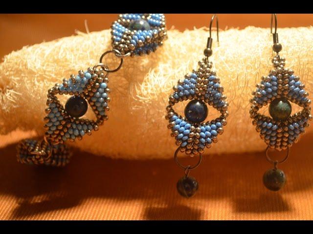 "Серьги из бисера ""Глаз царицы"".  Бисероплетение.  Мастер класс / Earrings Bead.  Beading."