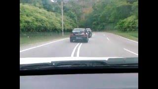 Nissan Skyline GT-R Turbo R33 vs Mitsubishi Lancer EVO IX 9 Malaysia Rain Hill Road Racing