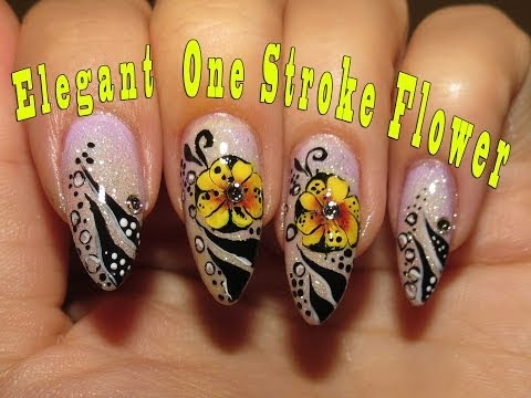 Elegant nail art + One Stroke Flower video tutorial