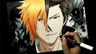 Speed Drawing  Ichigo  Aizen BLEACH