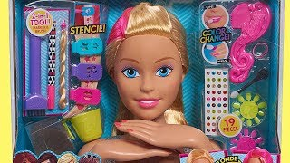 Barbie Flip and Reveal Deluxe Style Head Unboxing Review - Barbie Hairstyle and Color Change Make Up