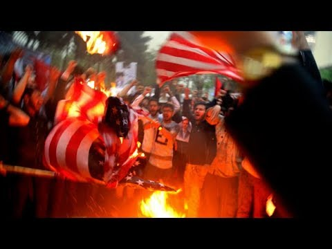 Iran burns U.S. flag after Trump pulls out of nuclear deal