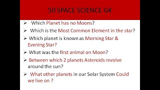 50 SPACE SCIENCE GK QUESTION & ANSWERS # 3