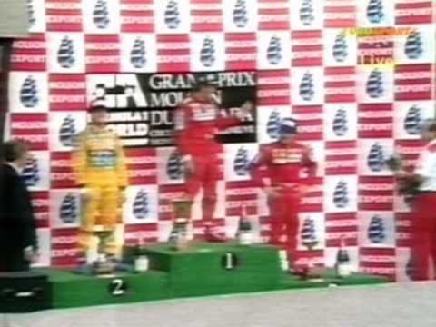 All content belongs to Formula One Management(FOM). Michael Schumacher on the podium in the 1992 Canadian Grand Prix.