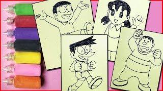Đồ chơi trẻ em TÔ MÀU TRANH CÁT  Nobita, Xuka, Xeko, Chaien - Colored sand painting toys (Chim xinh)