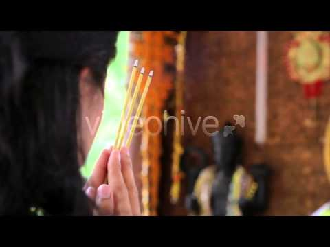 Stock Footage - Asian Girl Praying In Temple - Cambodia 4 | VideoHive