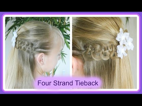 Best First Communion Hairstyles 3/3 / Pompidou & 4 strand braid tieback / Bonita Hair Do