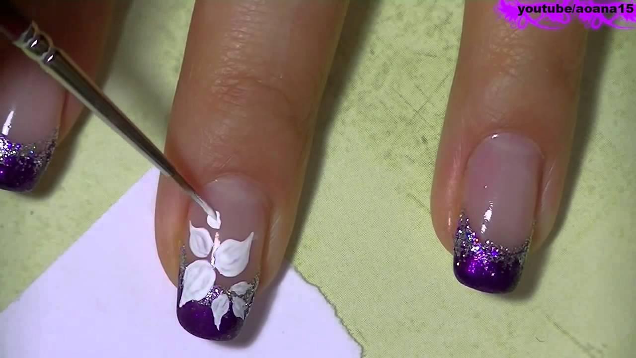 Красивый рисунок на ногтях кисточкой