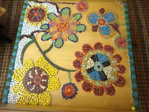 Mesa de mosaico em azulejo youtube for El mural de mosaicos