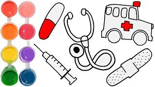 How to Draw & Color a Medical Set for Doctor | Learning w/ Coloring Tutorial | Learn Art for Kids