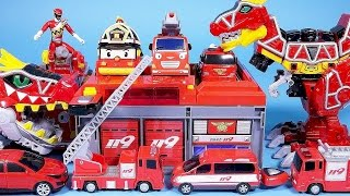Fire station car toys Robocar Poli Tayo bus TOBOT fire car