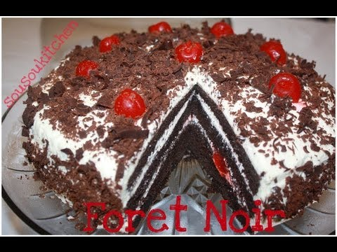 Recette de gateau foret noire black forest cake sousoukitchen youtube - Recette gateau foret noire ...