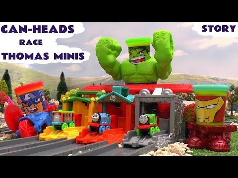 Play Doh Can-heads Race Thomas And Friends Minis Avengers Hulk Iron Man Spider-man Capt America video