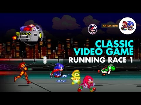 Classic video game characters in a race