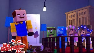 MY BABYSITTER IS .... HELLO NEIGHBOUR !!! Minecraft w/ Little Kelly , Little Carly and Sharky