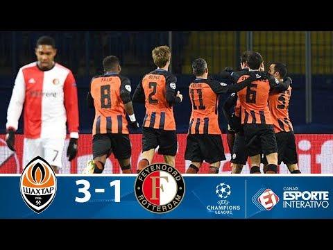 Melhores Momentos - Shakhtar 3 x 1 Feyenoord - Champions League (01/11/2017)