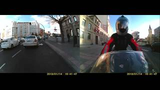 Dual camera motorcycle onboard Madrid cbr600F