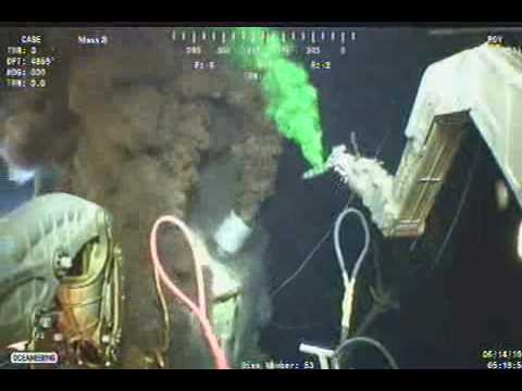 BP Oil Spill - ROV removes methanol injector from top of cap