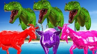 Learn Dinosaurs Colors For Kids Pig Goat Animals Colour Song || Cartoon Animted Educational Video
