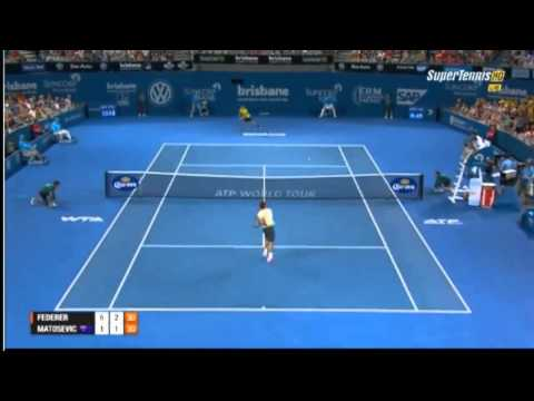 AMAZING POINT Roger Federer vs  Marinko Matosevic ATP Brisbane International 2014-SF