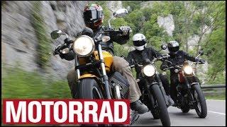 Moto Guzzi V9 Roamer vs. Triumph Street Scrambler vs. Yamaha SCR 950 (English Subtitles)