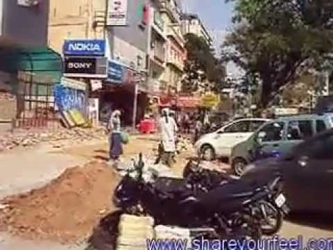 Footpath construction work at Ameerpet as on 17-04-2013