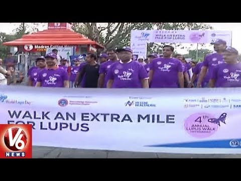 Walk An Extra Mile : Awareness Walk On Lupus Disease At Necklace Road | Hyderabad | V6 News