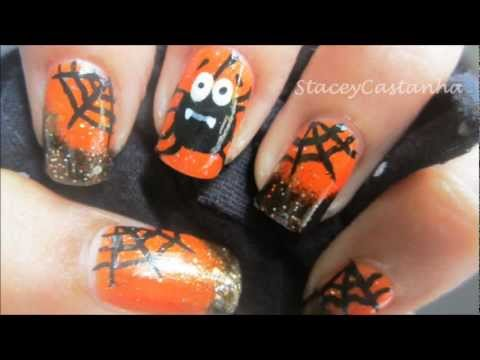 Spider nail design for halloween | tutorial