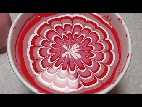 Red Pink & White Water Marble Nail Art Tutorial (Water Marble March 2014 #1)