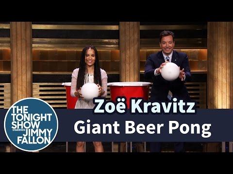 Zoë Kravitz & Jimmy Fallon Play Giant Beer Pong