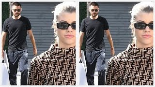 Sofia Richie looks stylish in a Fendi turtleneck and jeans while she and Scott Disick shop at Prada