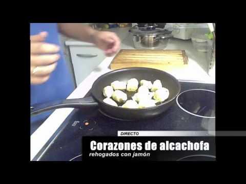 Corazones de alcachofa rehogados con jamón (en directo) - Recetas de cocina
