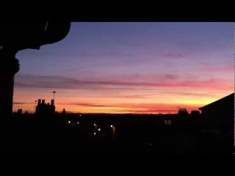 Spectacular Red Chemtrail sunset, Woodgreen, North London, Uk weather share (Jan.12th.2012)