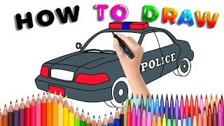 How to Draw a Police Car for Kids | Crane Coloring Page for Kids | EDOMEI