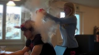HILARIOUS HOMEMADE EXPLOSION PRANK! (Blonde GF Almost Gives BF a Heart Attack)