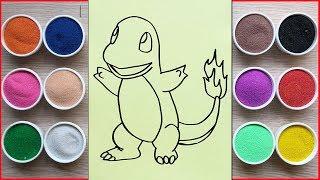 Đồ chơi trẻ em TÔ MÀU TRANH CÁT POKEMON KHỦNG LONG LỬA - Colored sand painting pokemon (Chim Xinh)